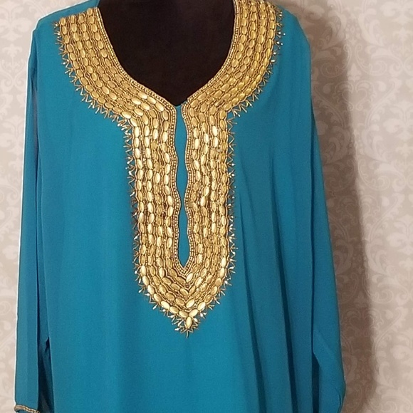 c5bc31a2068 Turquoise Indian Pakistani Plus Size Tunic Top. Boutique. Divina